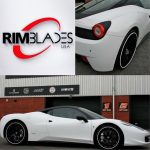 white sports car with white RimBlades rim protectors