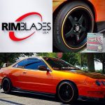 orange sports car with RimBlades wheel rim protectors