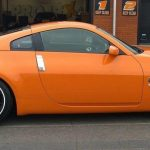 orange sports car with white RimBlades