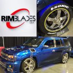 blue SUV with yellow rim protectors from RimBlades USA
