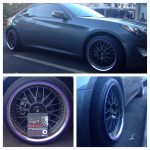gray car with purple RimBlades rim protectors
