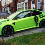 green Ford Focus RS with green RimBlades rim protectors