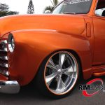 orange classic hot rod truck with orange RimBlades rim protector