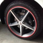 wheel with red RimBlades rim protector