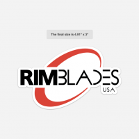 White, Red, and Black RimBlades USA sticker