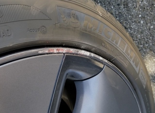 Damaged tesla wheel