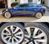 Silver RimSavers Tesla Model 3